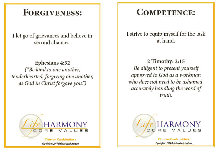 Forgiveness and Competence Life Value Cards